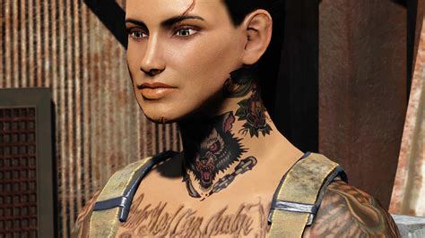 neck tattoo fallout 4 tattoo model traditional ink at fallout 4 nexus mods and