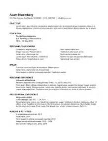 Resume For Internship Exle by Resume Exles Exle Internship Resume Template Sle
