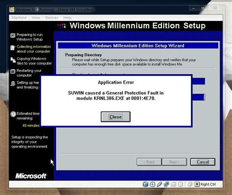xp setup error view topic windows me install error in virtualbox
