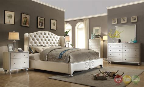 glamorous pearl white button tufted wing  bed faux croc bedroom furniture set