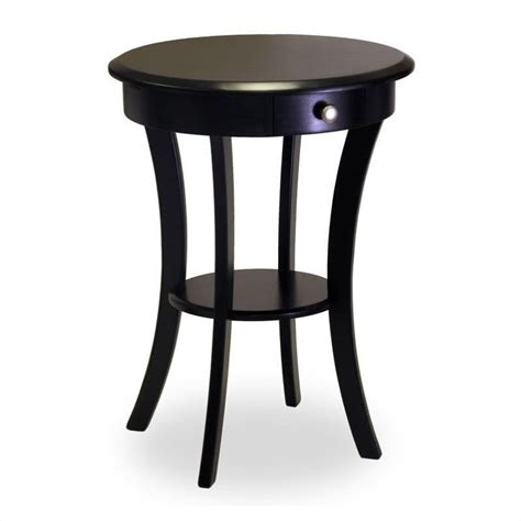 Round Black Accent Table | wood round accent end table with drawer curved legs in