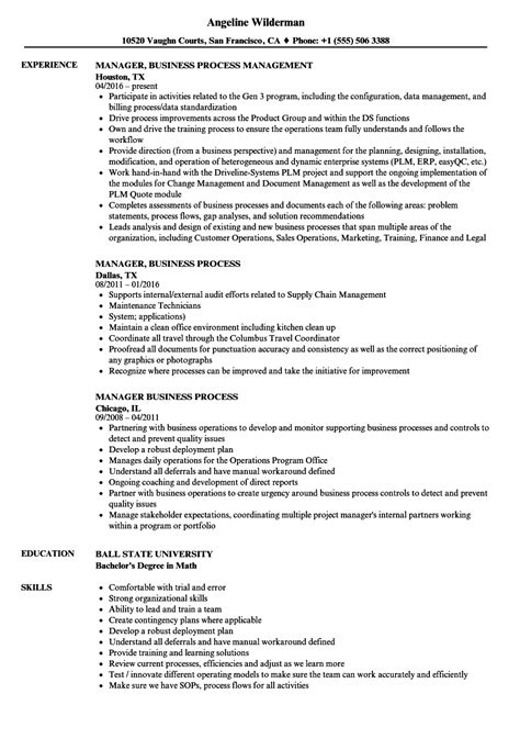 Business Process Manager Sle Resume by Manager Business Process Resume Sles Velvet