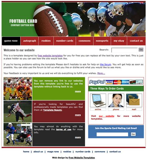 templates for football website football template free website templates