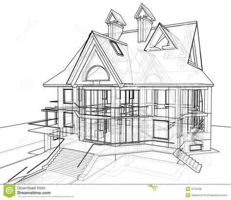 how to draw a 3d house house technical draw royalty free stock photos image