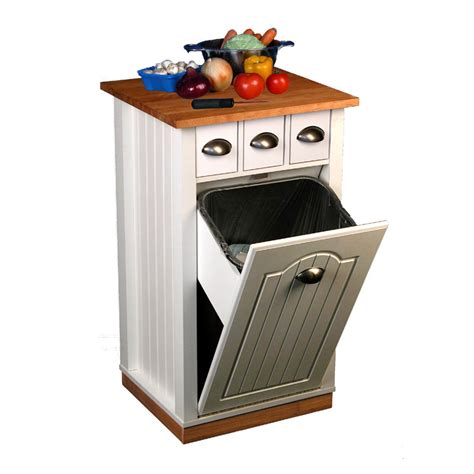 kitchen island with trash bin venture horizon butcher s block island with trash bin and pantry 4124 11wh