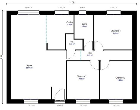 Plan Pavillon 100m2 by Maison Individuelle R 233 Sidence Picarde 104 R 233 Sidences