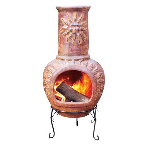 Chiminea Bunnings glow 440 x 440 x 1045mm sun clay chiminea bunnings warehouse