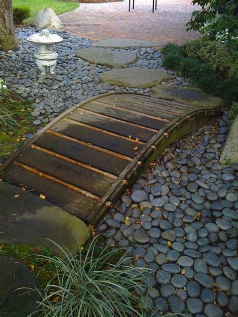 small garden bridge small dry river bed garden outdoor projects small