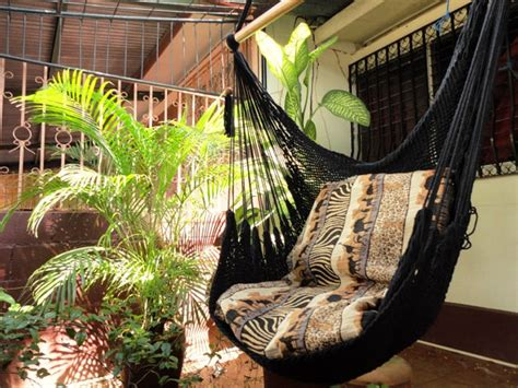 Sitting Hammock | black sitting hammock hanging chair natural cotton and wood