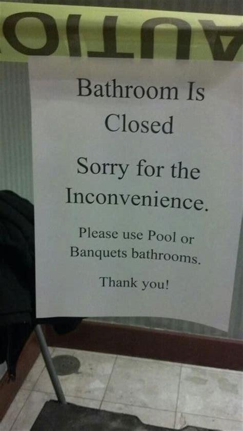 bathroom closed pee   pool sign funny faxo