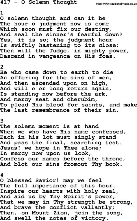 Adventist Hymnal, Song: 417-O Solemn Thought, with Lyrics