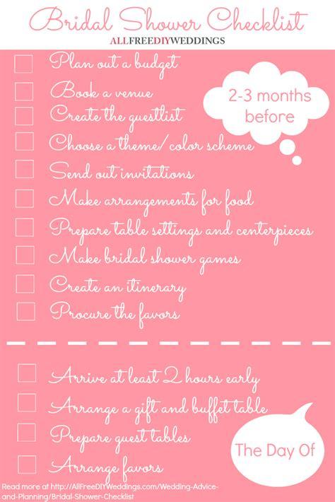bridal shower checklist allfreediyweddingscom