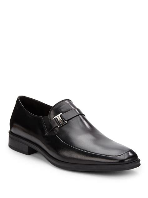 bruno magli mens loafers bruno magli pivetto leather square toe loafers in black