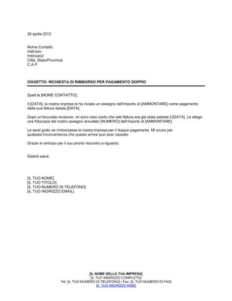 richiesta documenti richiesta di rimborso per pagamento doppio modelli e