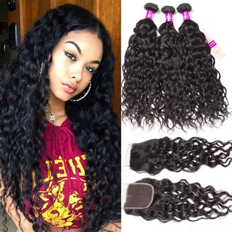 brazilian wet and wavy hair with closure free part lace closure with 3 bundles with closure brazilian wet and wavy tinashehair