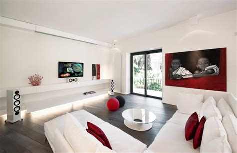 modern white living room red white apartment