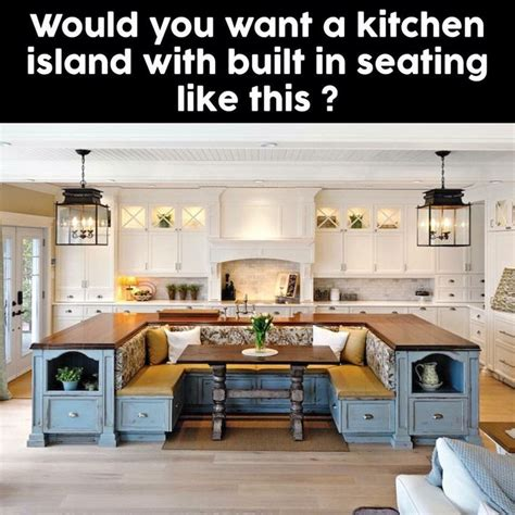 Kitchen Island With Built In Table Kitchen Island With A Built In Bench Kitchen Table Need This In My Future Home Future Home