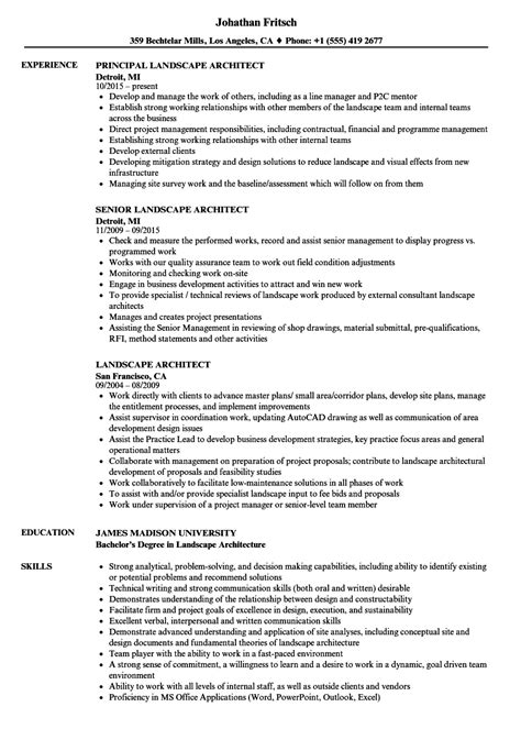 Landscape Architecture Resume Templates by Resume Template Landscape Architect Images Certificate