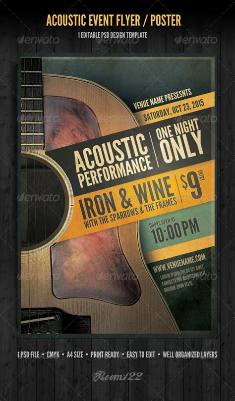 Acoustic Event Flyer Poster Template Graphicriver Graphicriver Event Flyer Template