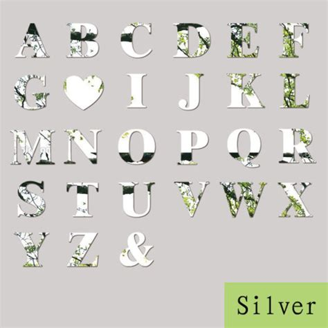 silver letters home decor 26 letters acrylic silver mirror wall sticker decals words