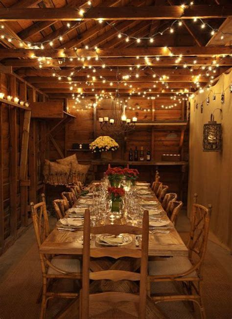 Drape string lights from rafters to decorate for your