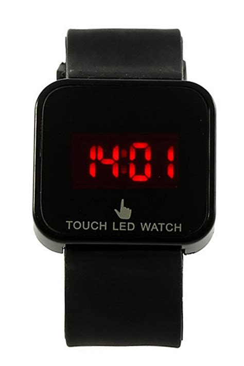 Led Touch Black colorful unisex led digital touch screen silicone wrist