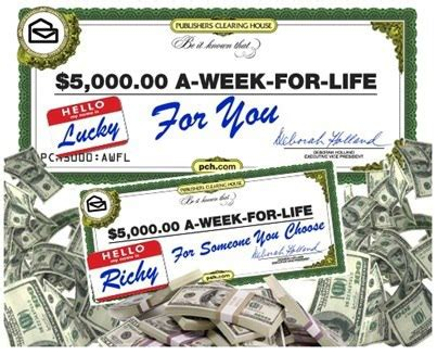 Publishers Clearing House Forever Prize - publishers clearing house 5 000 a week forever prize sweepstakes sponsored