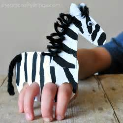 Toilet Paper Roll Kids Crafts - galloping finger puppet zebra craft i heart crafty things