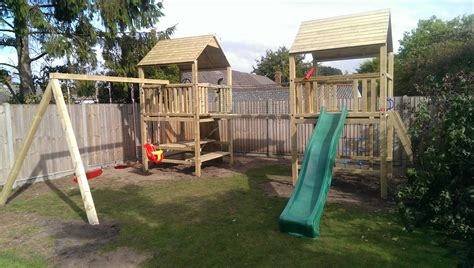 climbing frame swing set play crazy two tower climbing frame installation