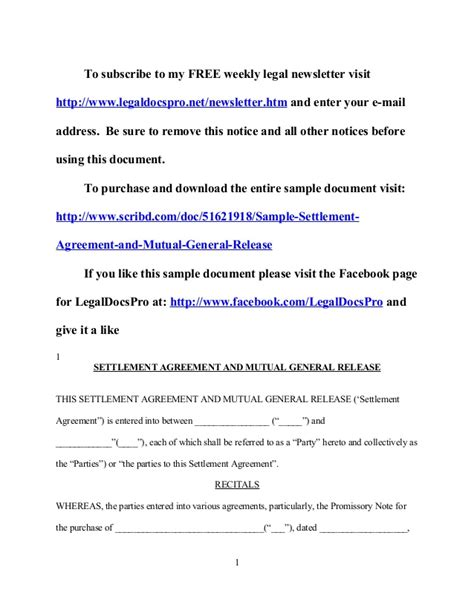 Sle California Settlement Agreement And Mutual General Release General Release Agreement Template