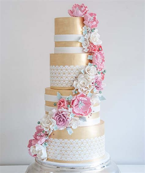 Wedding Cakes Magazine by Glistening Golden Wedding Cakes Modern Wedding