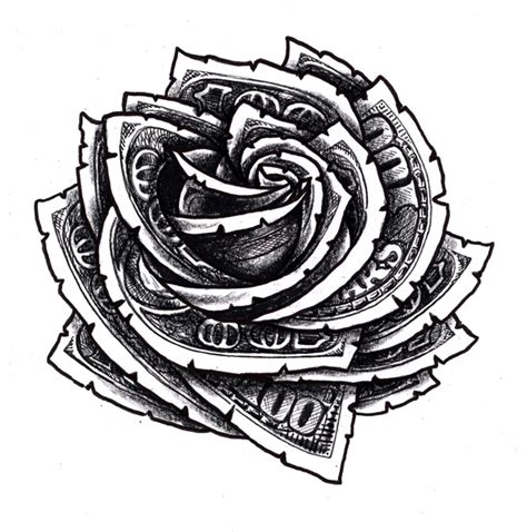 hundred dollar bill rose floral tattoo design tattoos