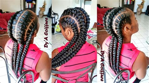 HOW TO ? 4 feed in stitch braids   By Dy'A   YouTube