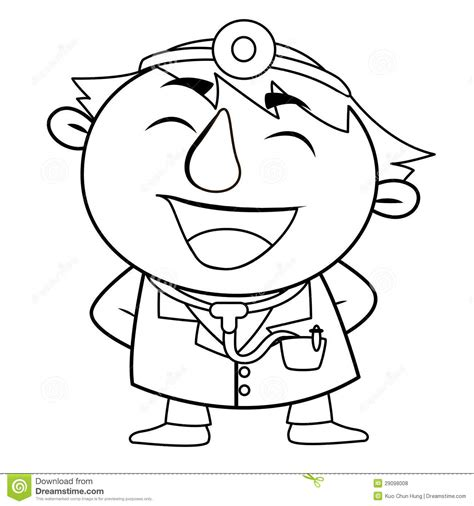 cute doctor coloring page outlined cute doctor royalty free stock photos image