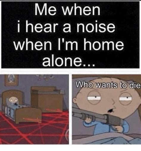 me when i hear a noise when i m home alone who wants to