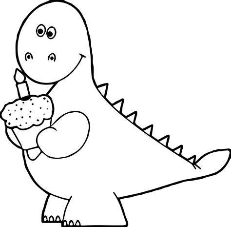 birthday dinosaur coloring page orange dinosaur birthday cupcake coloring page