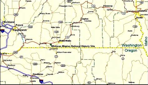 map of oregon border directions whitman mission national historic site u s