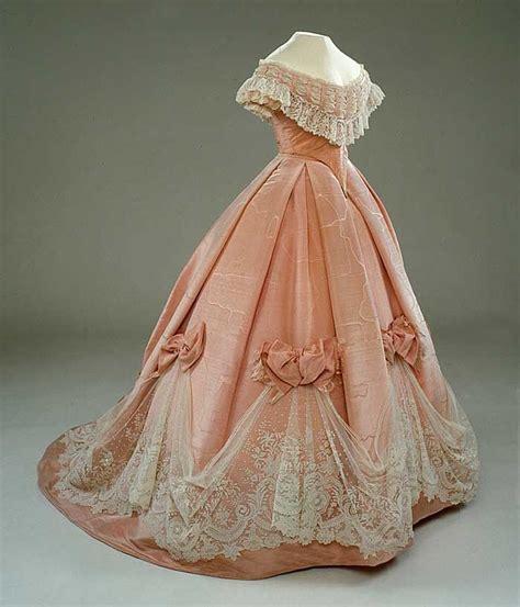 Pink silk ball gown dress gown ballgown 1800s 1860s dress