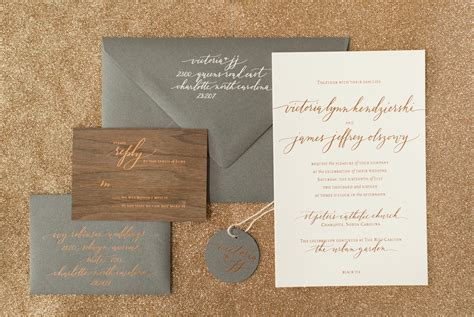 wedding invitations teal and copper rustic boho wood and copper foil wedding invitations