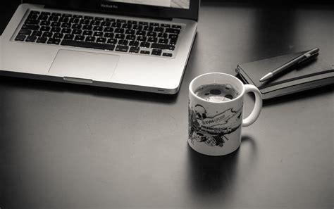 macbook wallpaper coffee gray laptop computer near ceramic mug hd wallpaper