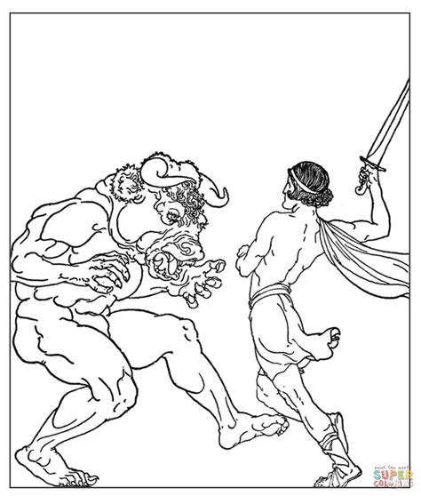 Theseus And The Minotaur Drawing Www Pixshark Com Minotaur Coloring Pages