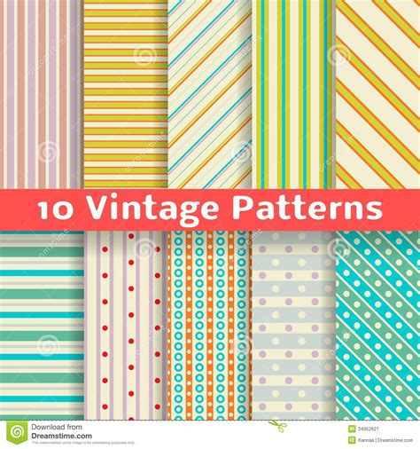 different pattern materials in casting different vintage stripe vector seamless patterns stock