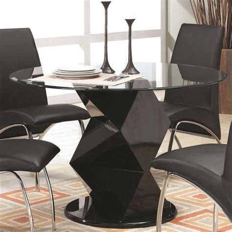 coaster ophelia contemporary glass top dining table in