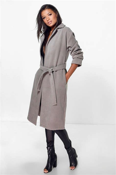 Wool Belted A Line Coat From Ms by Boohoo Imogen Belted Wool Look Coat In Gray Lyst