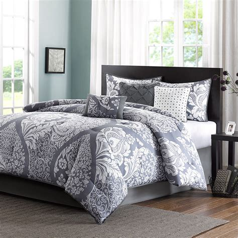 Cali King Bedding by Gray White Bed Bag Luxury 7pc Comforter Set Cal King