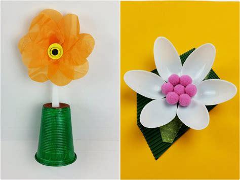 fiori con bicchieri di plastica tutorial fiori con cucchiaini di plastica riciclo diy