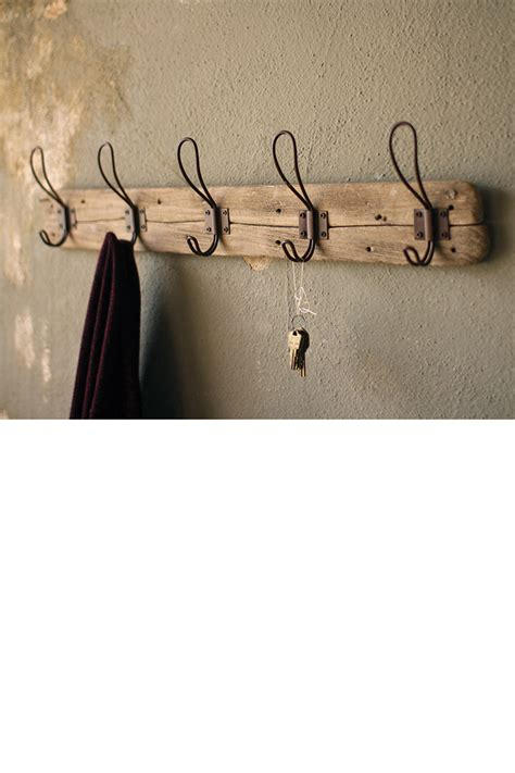recycled wooden coat rack  rustic hooks