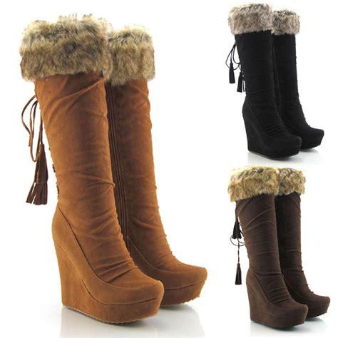 high heel wedge boots womens faux suede zip knee high platform high heel wedge