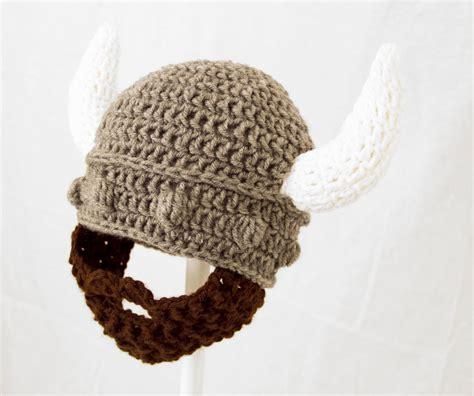knitted helmet viking beard hat gray helmet knit crochet beard beanie
