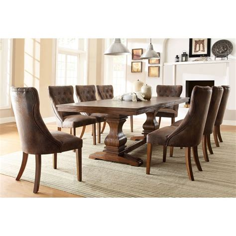 homelegance marie louise 9 piece dining room set in rustic best 25 trestle dining tables ideas on pinterest